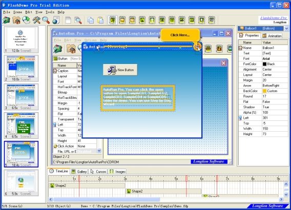 Create flash demo, tutorial and presentations for wesite,exe file  autorun CDs.